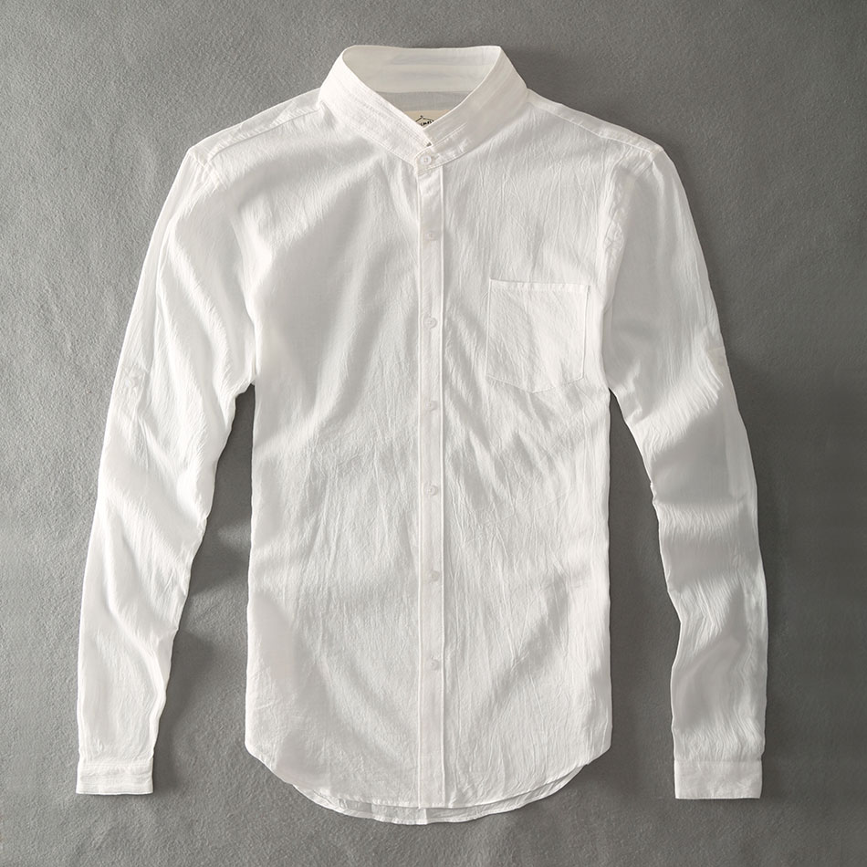 Zecmos Cotton Linen Men Shirts Hvid Grandad Chinese Collar Casual Shirts For Men