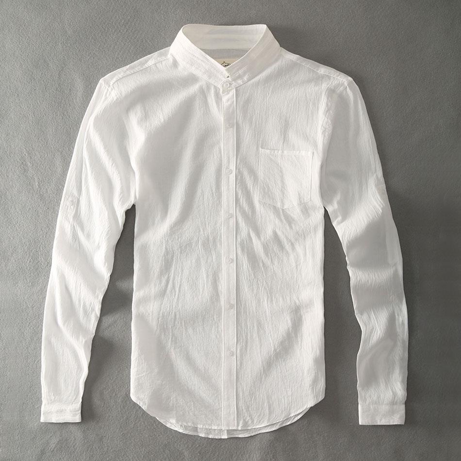 Zecmos Cotton Linen Men Shirts White Grandad Chinese Collar Casual Shirts For Men