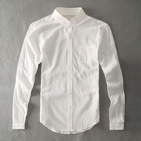 Zecmos Cotton Linen Men Shirts White Grandad Chinese Collar Casual Shirts For Men