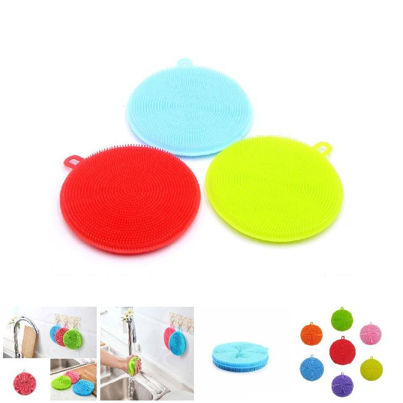 Household Cleaning Kitchen Tool Soft Silicone Sponge Scrubber Fruit Dish Washing