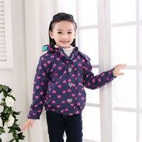 Kids Warm Fleece Jackets Girls Purple Color Heart Print Coat Windbreaker Children Sports Coat Baby