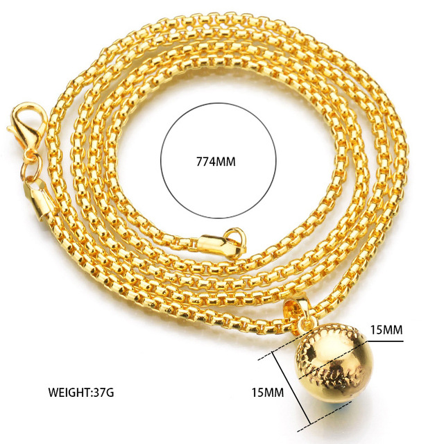 Hip-hop Necklace New York Baseball Necklace Gold Alloy Baseball Bat Pendant Chain Necklace