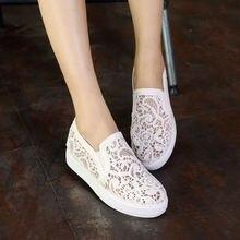 Новая мода летняя обувь женская обувь на плоской подошве платформы квартир женщин кружева низкий каблук леди повседневная обувь сетка маленький большой размер 30-44 0351