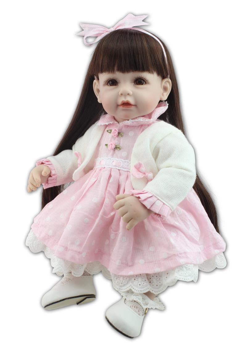 Nicery 20inch 50cm Lifelike Reborn Baby Doll Girl High Vinyl Christmas Toy Gift for Children Smile Princess Pink Dresses nicery 18inch 45cm reborn baby doll magnetic mouth soft silicone lifelike girl toy gift for children christmas pink hat close