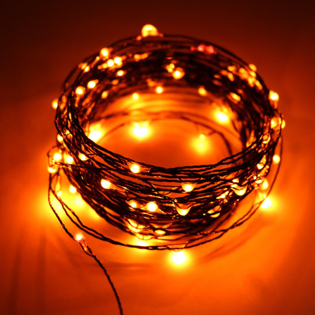 10M 100LED Halloween String Lights Black Wire Orange Purple Color Decoration Fairy For Home Decor