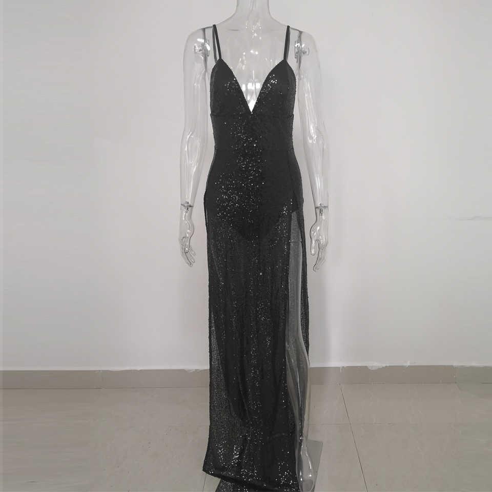 42844151ef79e JillPeri Luxury Women Long Dress Deep V Neck High Waist Party Dress Solid  Leg Open Sleeveless Celebrate Wear Sequin Maxi Dress