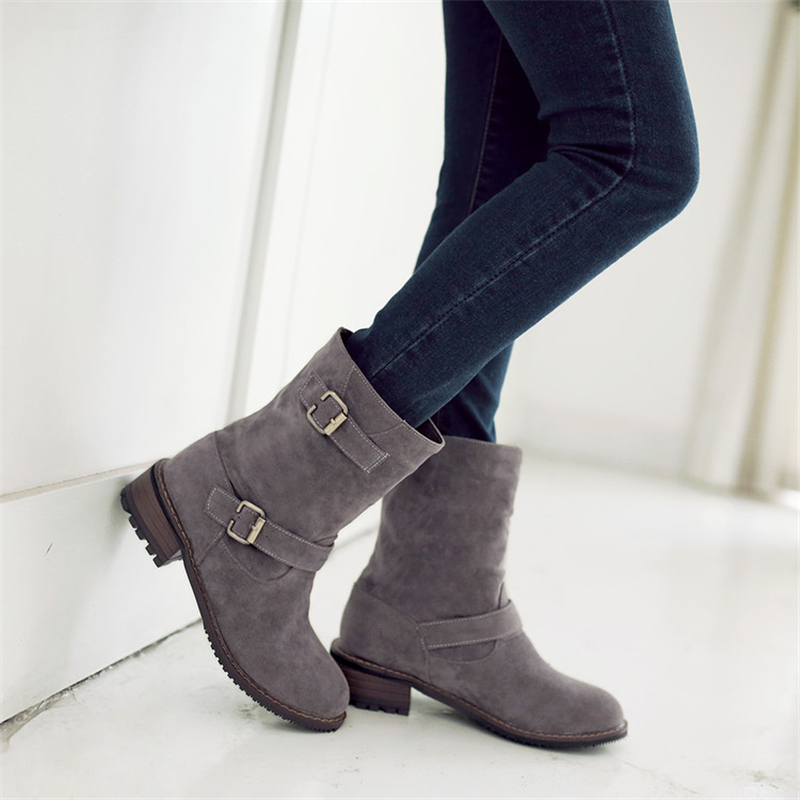 2018 New Autumn Winter Women Mid heel Boots Youths Fashion Short Plush Ankle Shoes Students Flock
