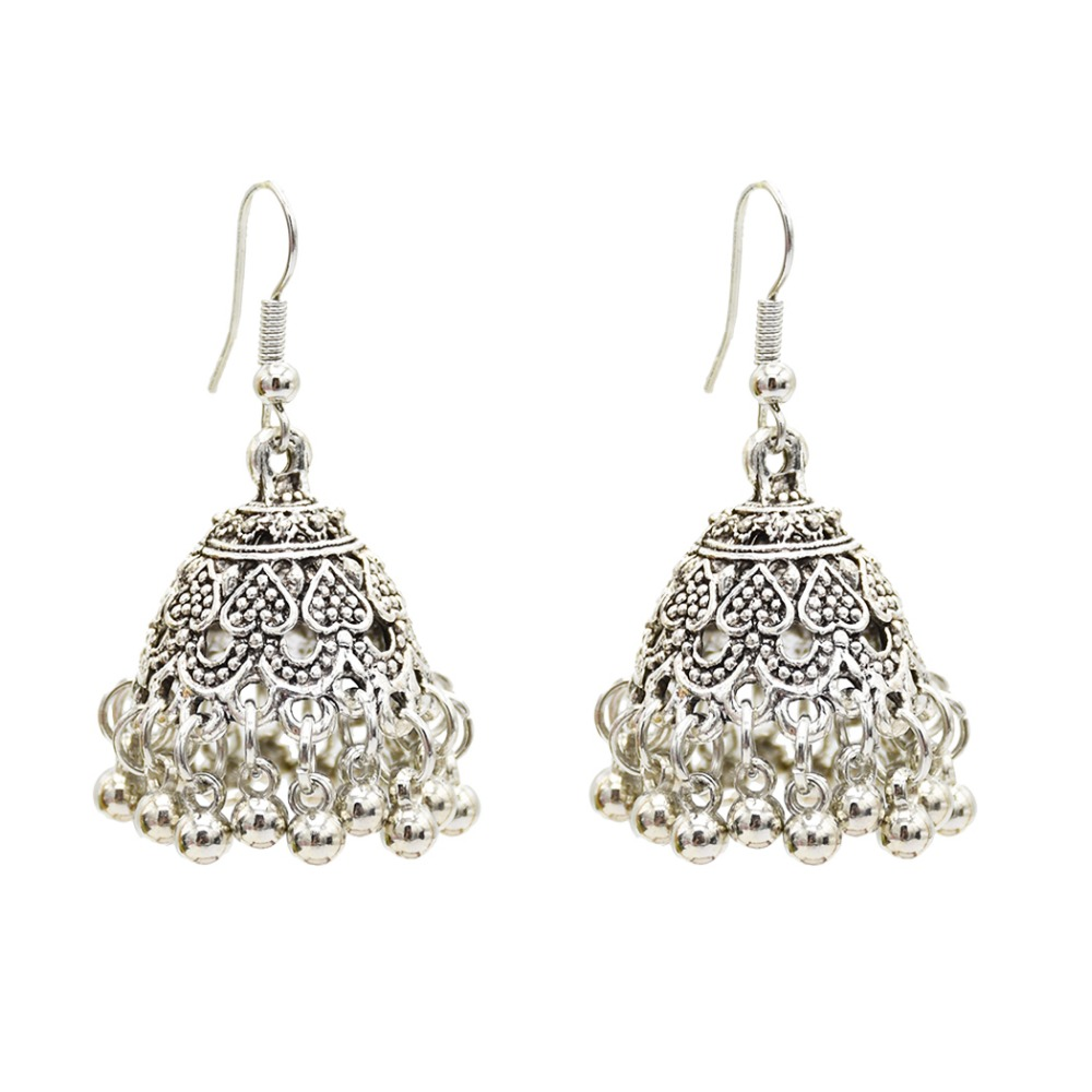 Chic Hippie India Antique Gold Silver Metal Bells Earrings Gypsy Classic Tribal Ethnic Fashion Jewelry MIddle East/Pakistan 2018