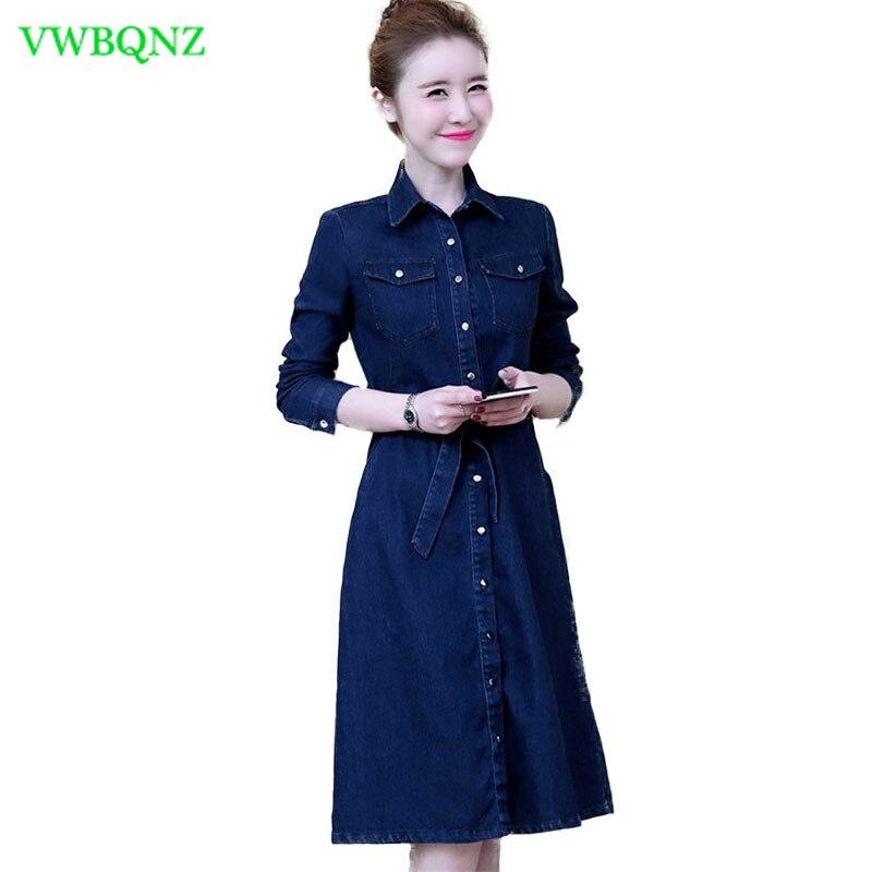 Primavera temperamento manga longa denim vestido feminino fino sobre o joelho vestido longo elegante feminino laço único breasted denim vestido a54