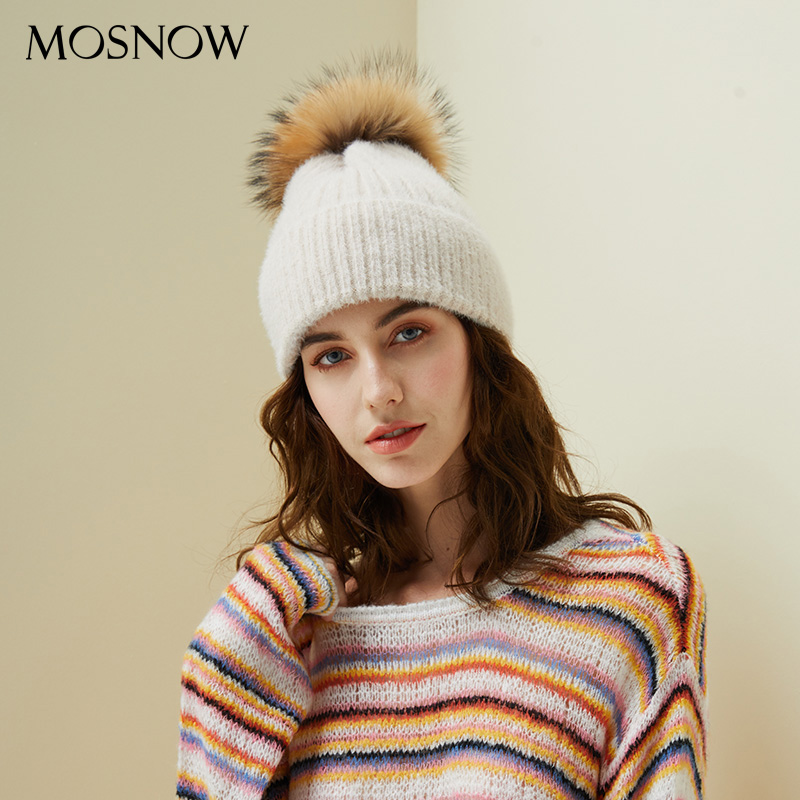 Woman Winter Hat Imitation Mink Fur Slouchy   Beanie   Thick Warm Turban Femme Straight Crochet Wool Hat Fur Pompom   Skullies     Beanies