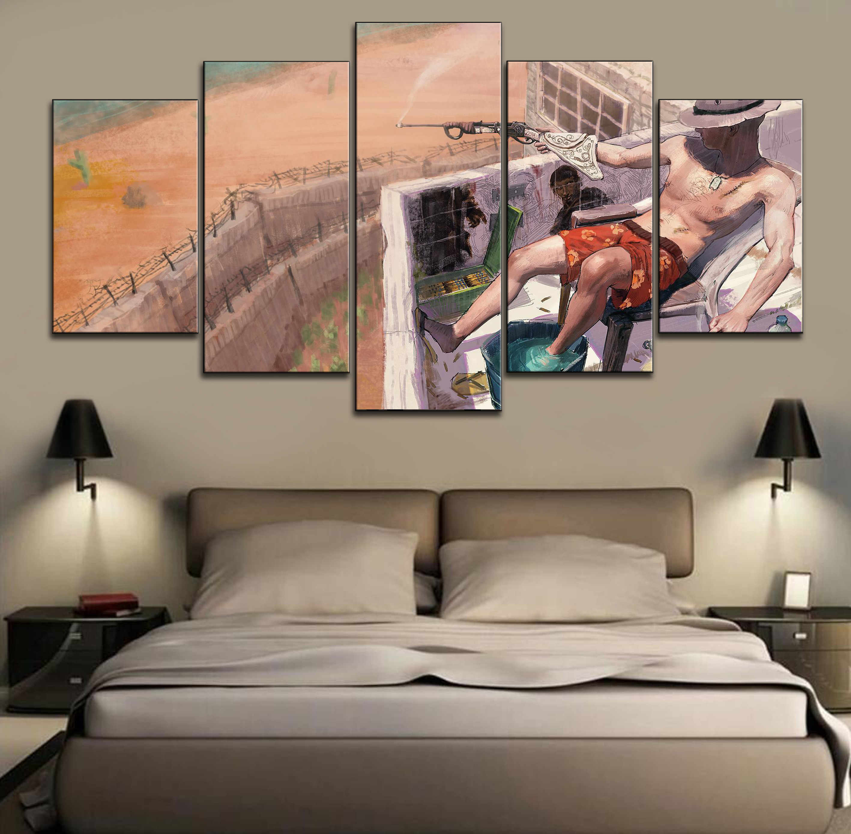 HD Print Picture Game RUST Painting Wall Art Decor Modular Framework Canvas Modern Artwork Poster 5 Piece Home Decor Picture