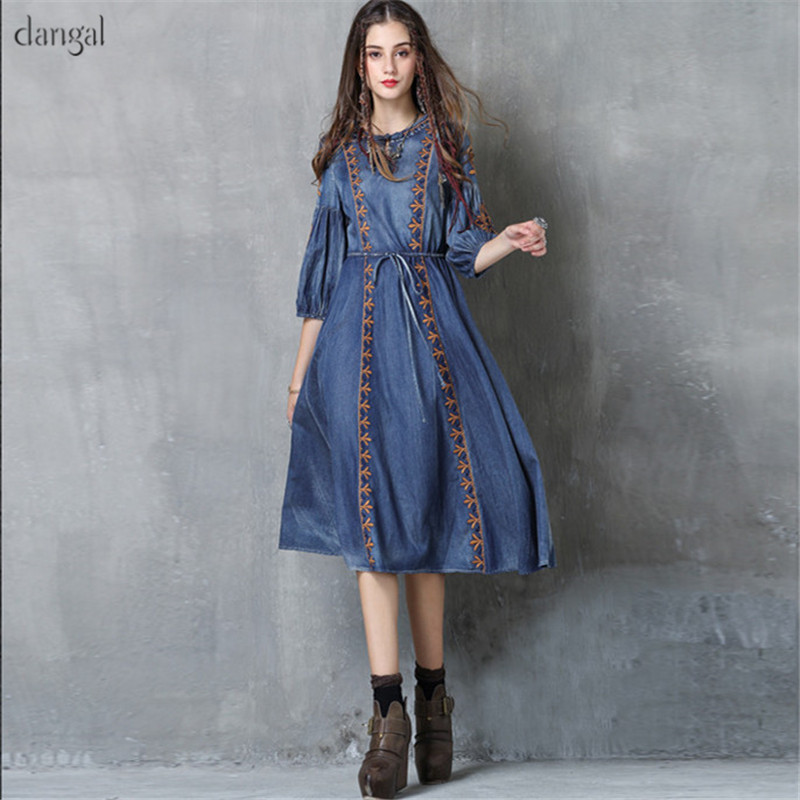 Dangal Spring Women Dress Boho New Cotton Lyocell Vestidos O-Neck A-Line Embroidery Vintage Blue Jeans Embroidery Vestido 2018