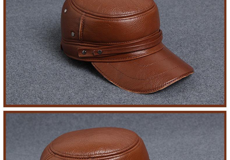 Men\'s Leather Hat - warm winter baseball cap - Korean fashion outdoor peaked cap _20