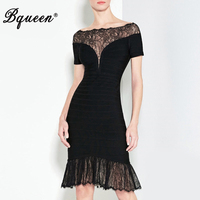 Bqueen Knee Length Short Sleeve Solid Lady Dress Sexy Lace Mermadi Slash Neck Summer Women Bandage