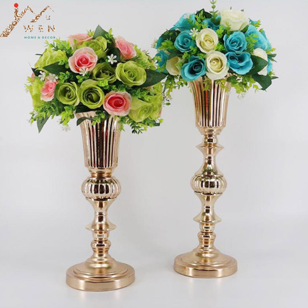 Florero de mesa de oro Metal Flower Road Lead Wedding Table Centerpiece Floreros de flores para matrimonio y decoración del hogar 2 Tamaño