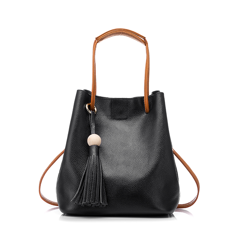 ФОТО REALER brand genuine leather bag women tassel bucket fashion women shoulder bag ladies messenger bag