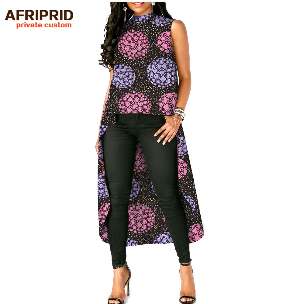 2019 african print new top for women AFRIPRIDE tailor made sleeveless o neck mid calf length