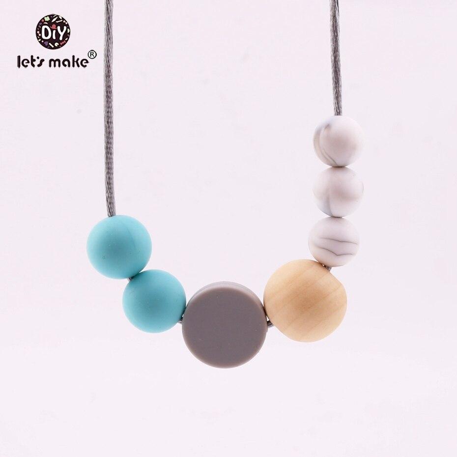 Let's Make Baby Toys Necklaces BPA Free Food Grade Silicone Teether Silicone Loose Bead DIY Jewelry Baby Nursing Necklaces