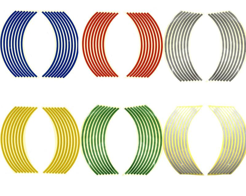 1Pack Universal Motorcycle Wheel Sticker 17/18inch Reflective Sticker Bicycle Car Tire Edge Reflective Sticker Wheel Decals