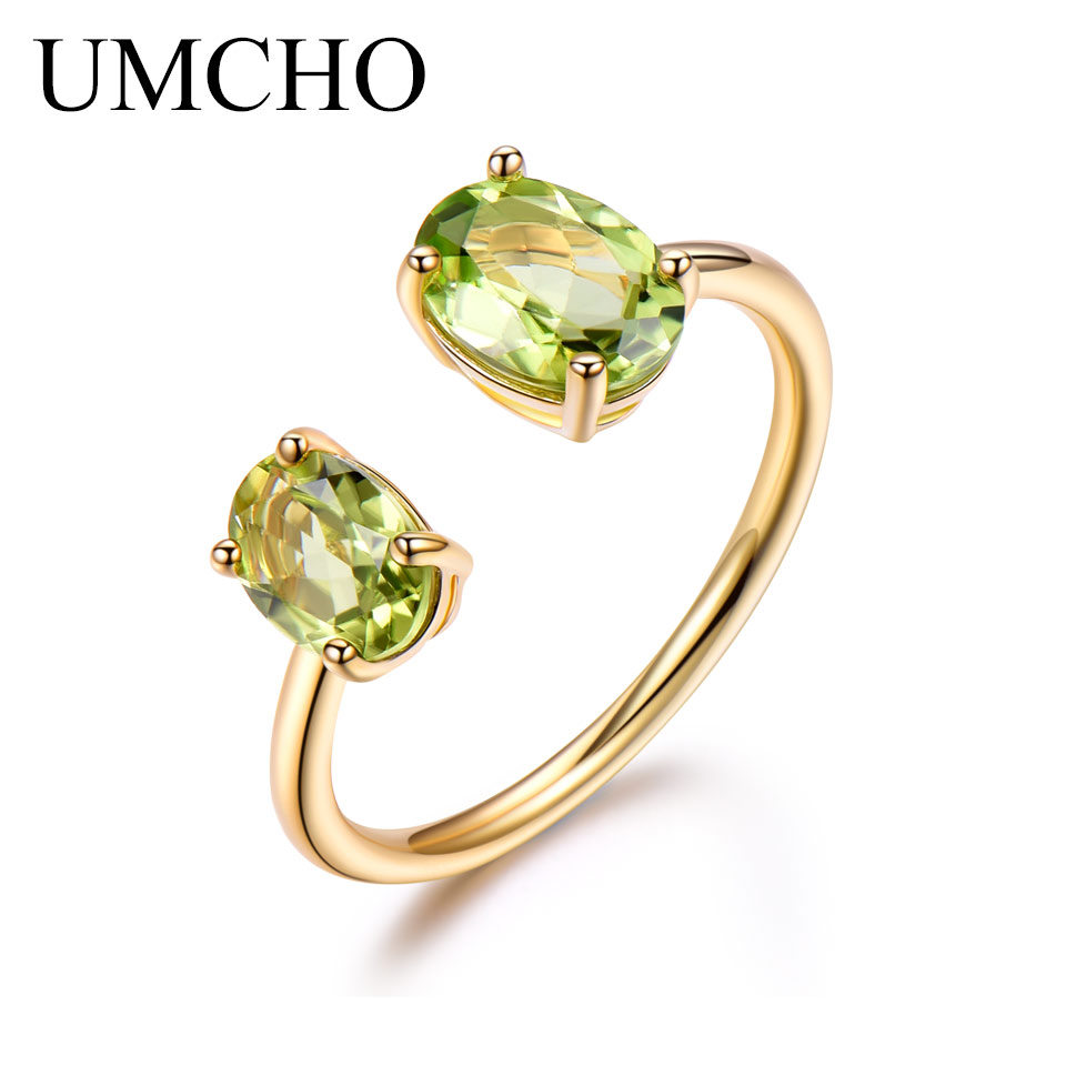 UMCHO 10.7ct Natural Peridot Ring Gemstone Solid 925 Sterling Silver Engagement Rings For Women Fine Jewelry