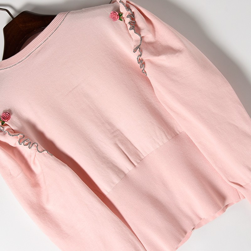 Tricot Tricots Bouffantes Mince Cardigan Doux Chandails Nouvelles Boutons Printemps Flux Mode Long Manches Pink De Rose Ruches Femmes waqafvX