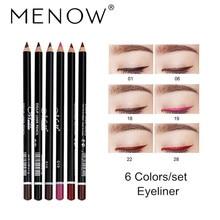MENOW Brand 6color /set Eyeliner Eye liner Pencil Long-lasting Waterproof Easy To Wear Eyebrow Pencil Eye Makeup Set Tools