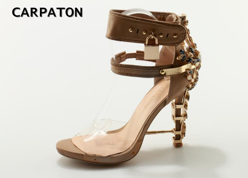 Carpaton Hot Selling Transpartent PVC Patchwork High Heel Sandal Sexy Open Toe Crystal Embellished Padlock Woman Sandal new fashion big pearls beaded woman flat shoes 2017 sexy open toe sandal crystal embellished slides