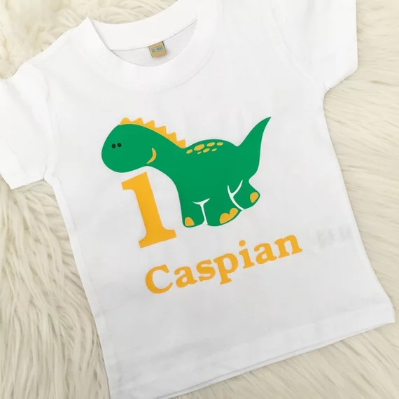 Kids T Shirt Name 3rd Birthday Dinosaur Personalise With Gift