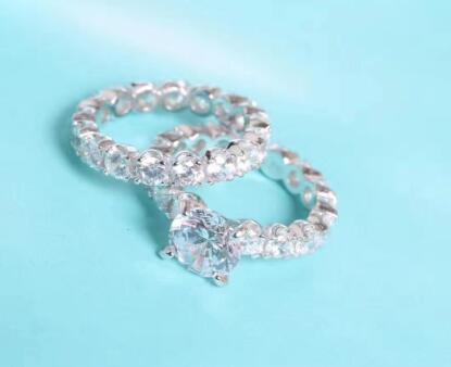 T759 925 Silber ring stets Für Frauen 2 karat 8 MM kissen Zirkonia Stein ring sets