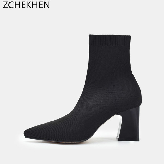 75d2f9ac0 Sexy Black Women Knit elastic Sock Boot Female Ankle Boots Chunky High Heel  Shoes Woman Slim Fit Short Booties Martin Boots