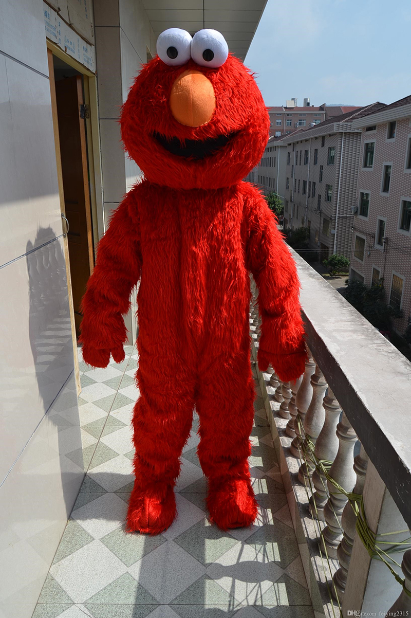 Factory direct selling high quality Long Fur Elmo Mascot Costume Cartoon Character Costume for Cosplay