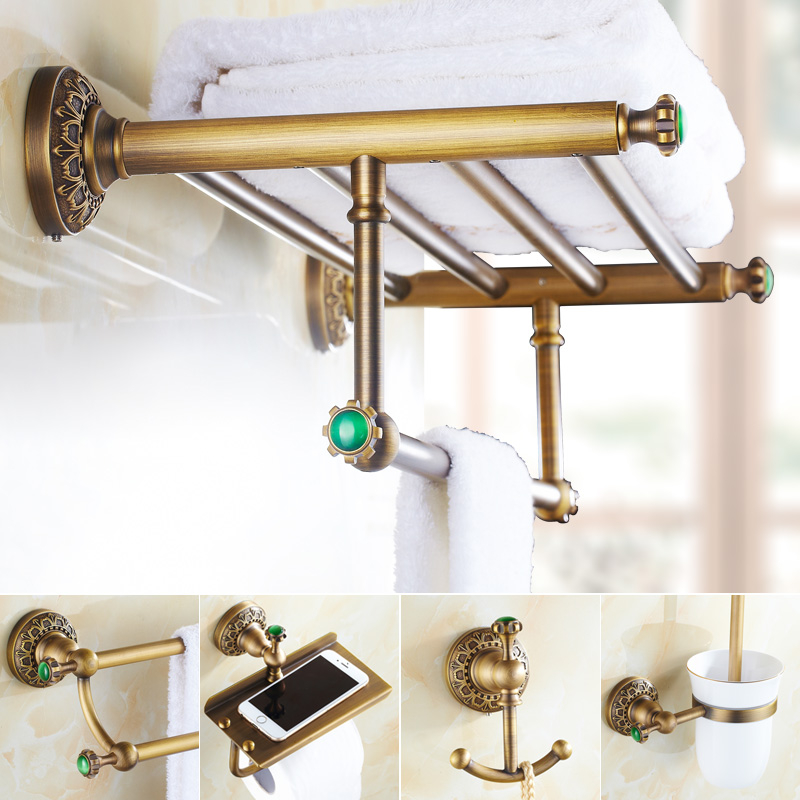 Emerald Antique Brass Green Stone Bathroom Hardware Set Carved Brushed Accessories Barss Improvement
