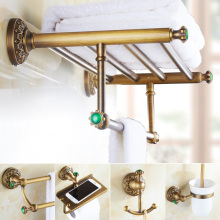 hot deal buy emerald antique brass green stone bathroom hardware set carved brushed bathroom hardware accessories barss bathroom improvement