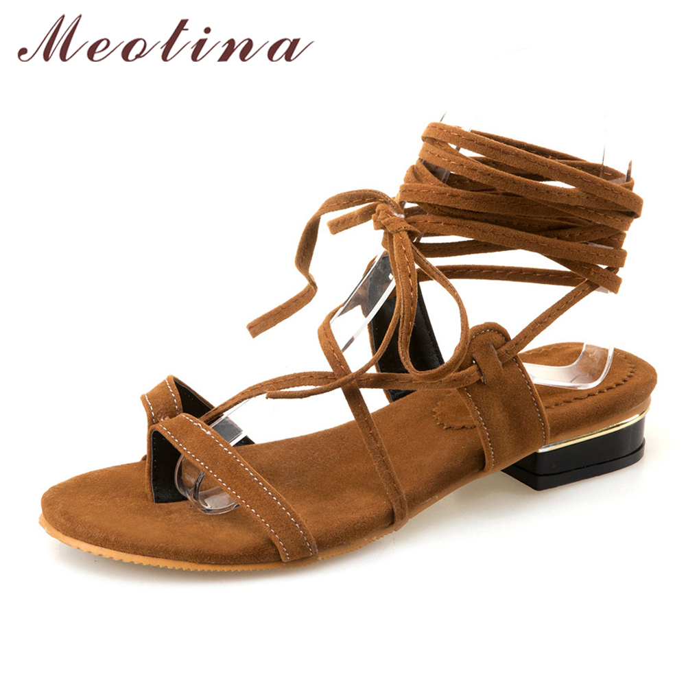 Womens sandals in size 11 - Meotina Design Gladiator Sandals Women 2017 Cross Strap Women Sandals Thong Sandals Lace Up Ladies Flat Shoes Big Size 11 12 46