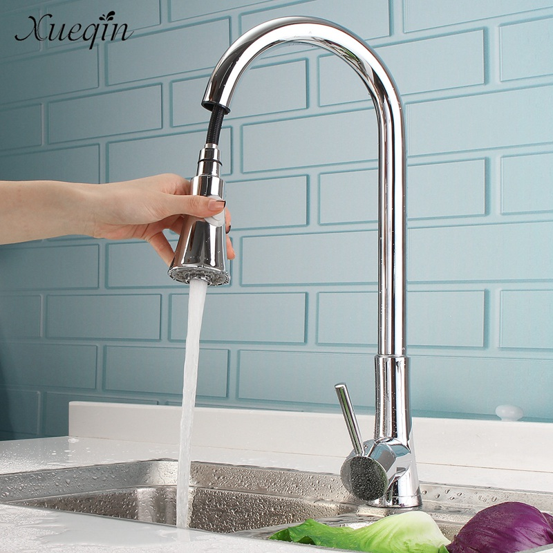 Xueqin Brass Swivel Spout Pull Out Kitchen Sink Water Faucet Mixer Tap Chrome Polished Single Cold Basin Faucets antique brass swivel spout dual cross handles kitchen