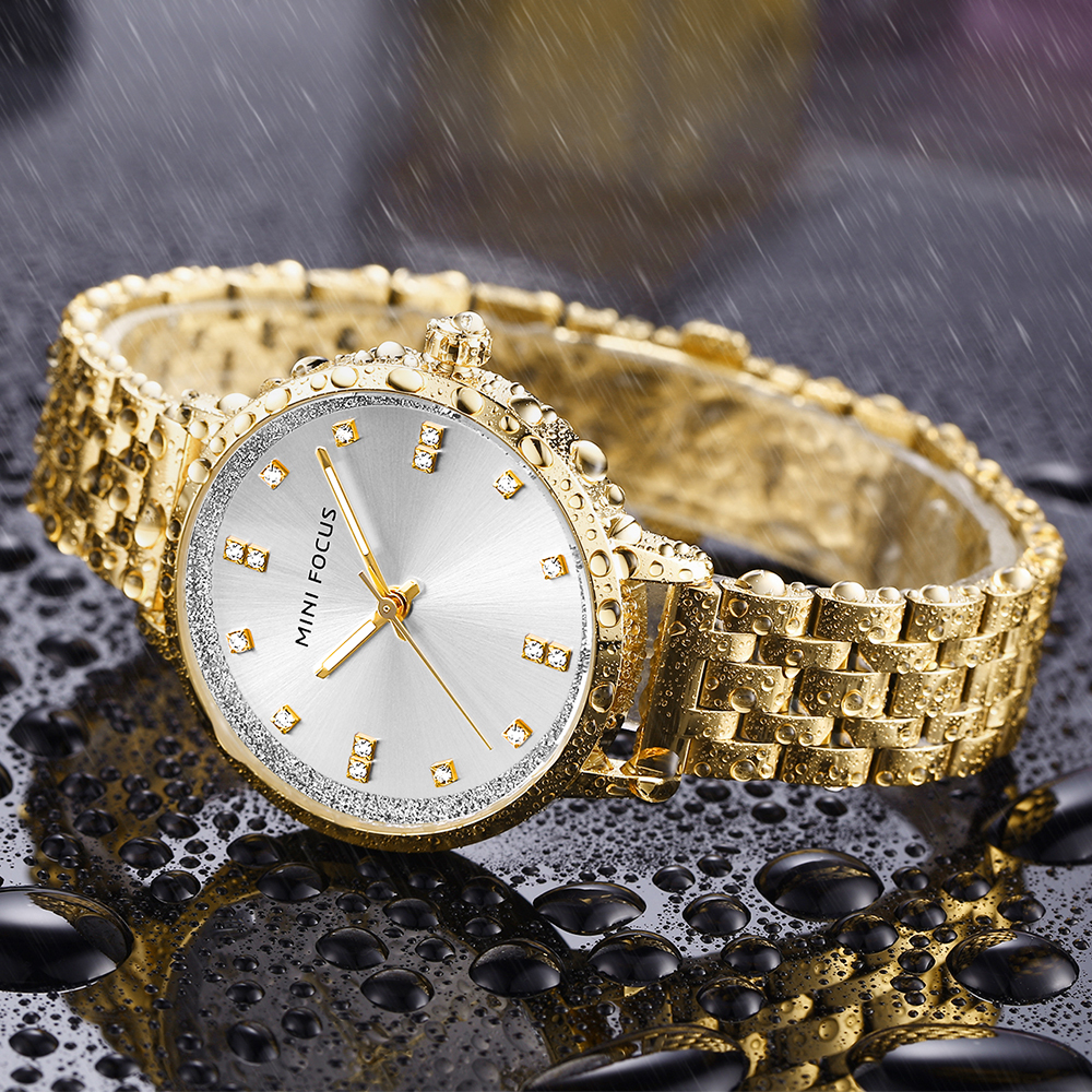 MINI FOCUS Royal Golden Women Watches Quartz Clock Iced Out Top Brand Luxury Full Steel Strap Waterproof Dress Ladies Wristwatch