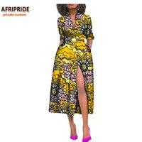 2017 Summer Women African Dress AFRIPRIDE Private Custom Side Open Sexy Mid Calf Length Dress 100