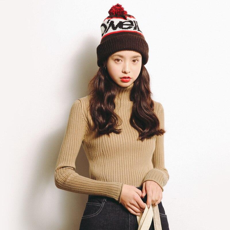2017 automne et d'hiver des femmes nouveau chandail à manches longues femmes ensembles de chandails de femmes Coréenne haute-chandail à col haut M112