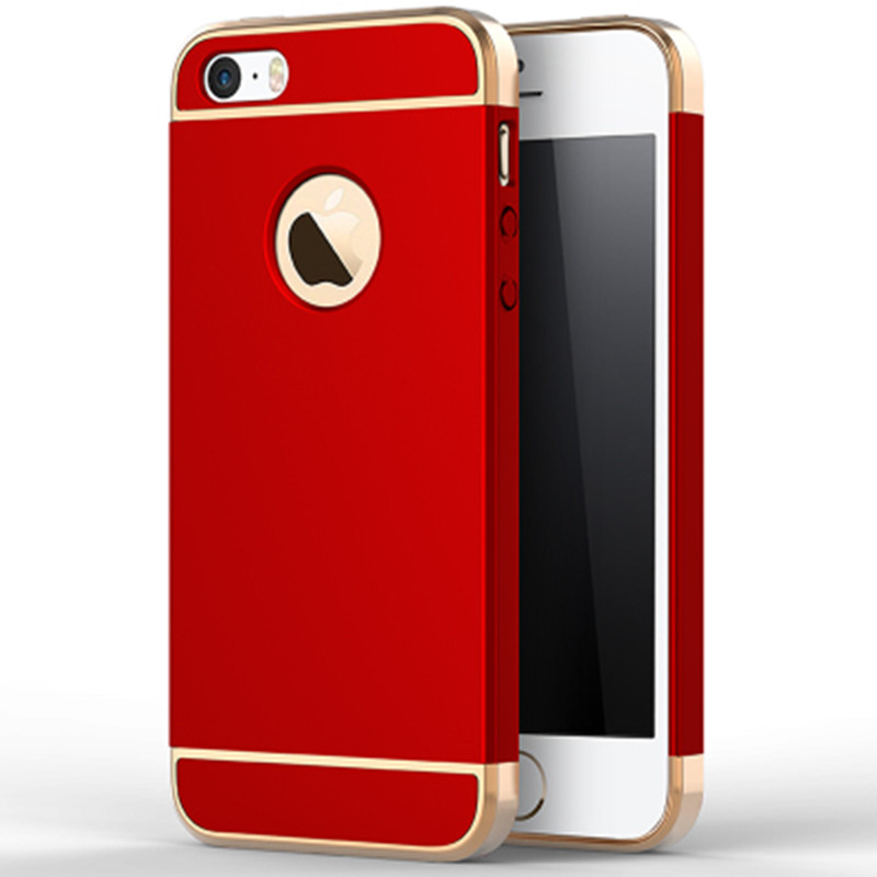 Luxury Gold Red Removable 3 in 1 Hard Plastic Case For