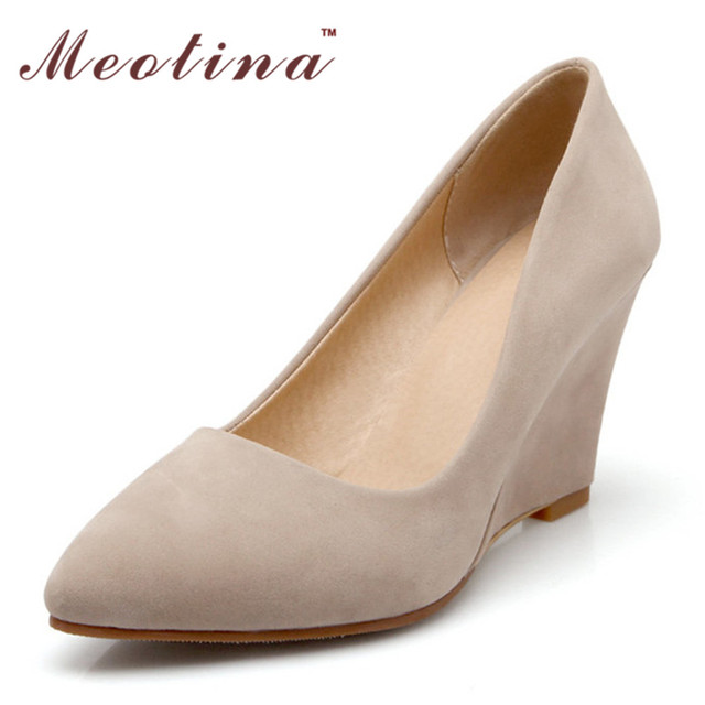 Meotina sapatas das mulheres bege bombas flock pointed toe salto alto cunhas calçado senhoras calçar sapatos de salto liso bege tamanho 34-43