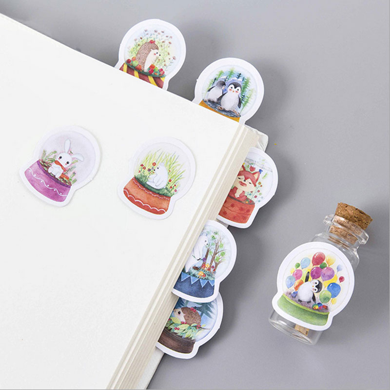 45Pcs/box My little world Paper Decoration DIY Scrapbook Notebook Album seal Sticker Stationery Kawaii Girl  Label Stickers