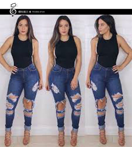 9341b40d043 Fashion Women Holes Skinny Tight Long Jeans Pencil Stretch Ripped Denim  Pants Plus Size Denim High Waist Trousers Leggings New-in Jeans from Women s  ...