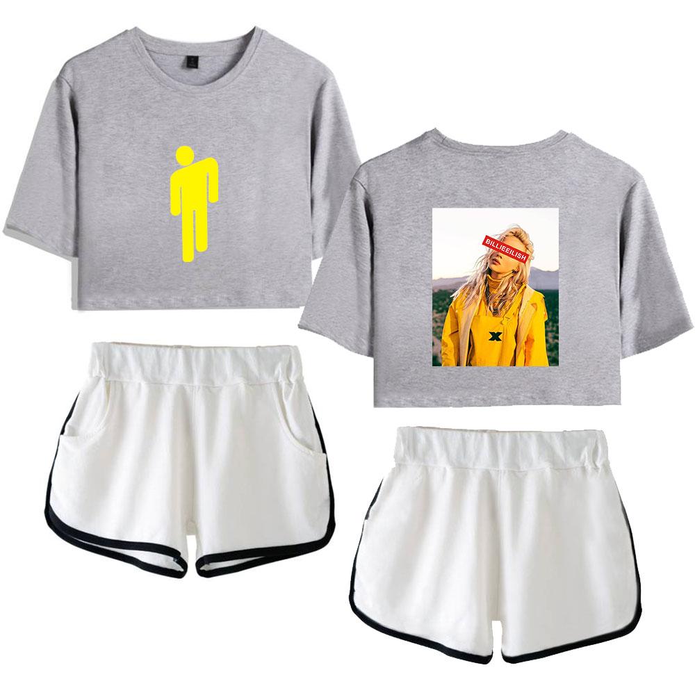 Billie Eilish Shorts T Shirt Set Gymnastik Fitness Sommer Fashion Damen Madchen Ebay
