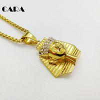 קארה החדש בלינג בלינג rhinestones פרעה מלך מצרית נשים שרשרת קסם שרשרת צבע זהב גברים נירוסטה CARA0426