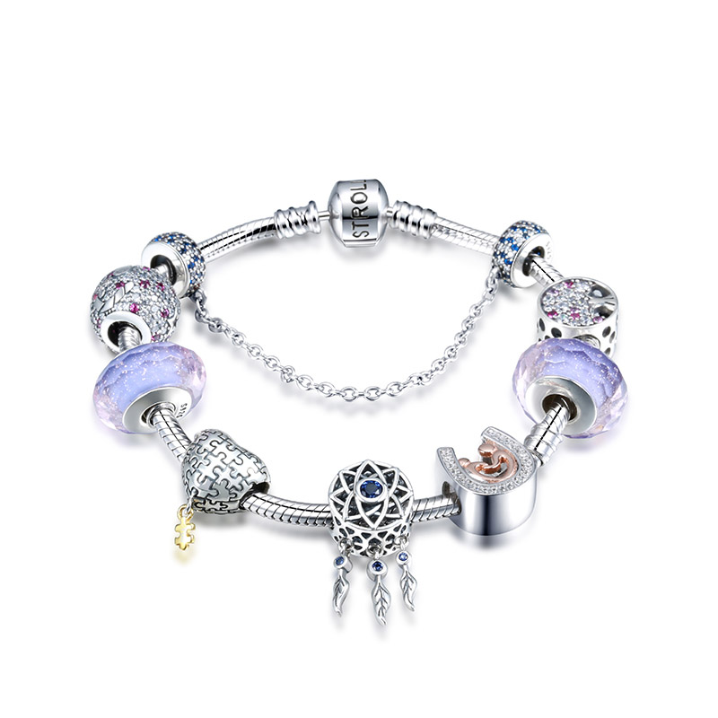 SG 100 925 Sterling Silver Dream Catcher Holder and Heart fashion charm Bracelets Bangles for Women