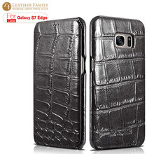 For galaxy S7 edge case Ultra Slim Embossed Crocodile Genuine Cowhide Leather flip cover For Samsung Galaxy S7 edge G935f shell