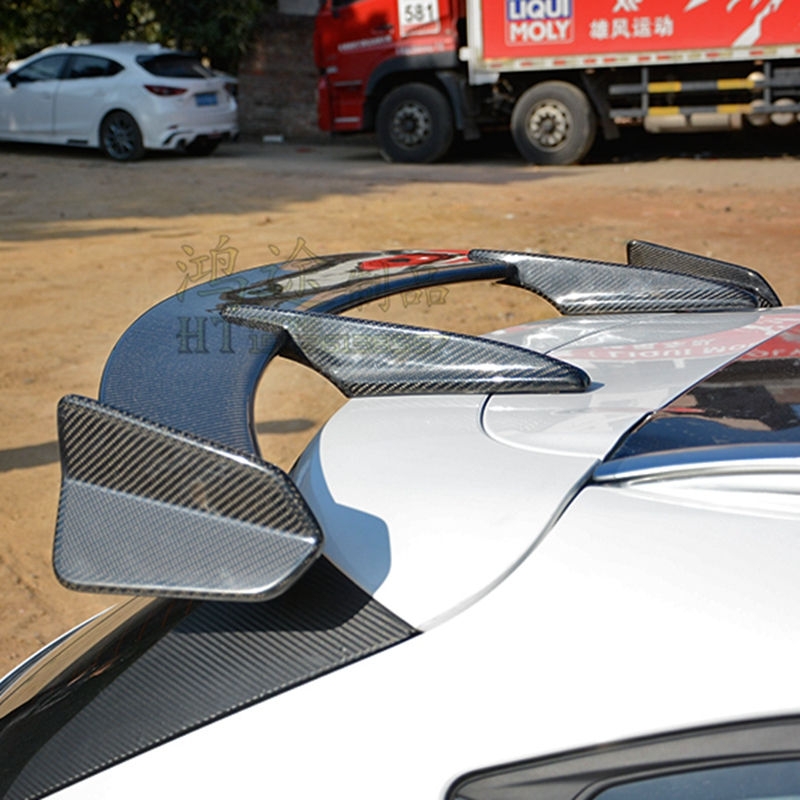 Carbon Fiber Exterior Rear Spoiler Tail Trunk Boot Wing Decoration Car Styling For Mazda CX 4 CX 5 Axela Hatchback 2014 2017|Spoilers & Wings| |  -