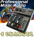 Top Quality Professional Stereo 4 Channel Microphone Audio Mixer DJ Music Digital Processor Sound Effects Console With 48V Power