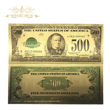 10pcs/lot American 1918 Edition 500 Dollars Bills 24k Gold Foil Banknote World Currency Replica Money Banknote Gift patriotism souvenir bills 24k gold banknote euro currency 20 euro replica gold plated banknote money collection