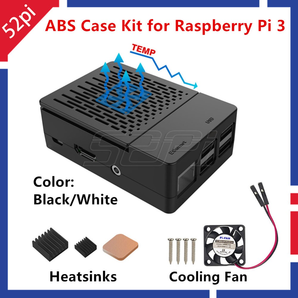 52Pi ABS Black / White Case Enclosure Cover Kit with Heatsinks and Cooling fan for Raspberry Pi 3 B+ / 3 / 2 Model B abs case with cooling fan heatsink removable top cover